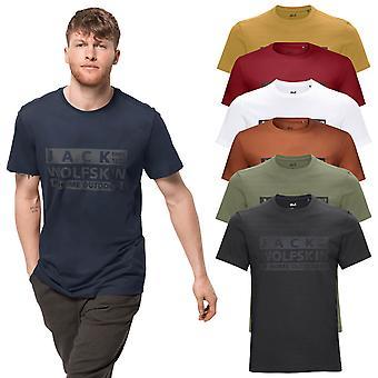 Jack Wolfskin Herre 2021 Brand Økologisk Bomuld Trykt Crew Neck T-shirt