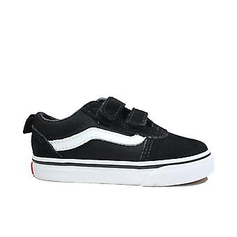 Vans Toddler Ward V Pelle scamosciata in bianco/nero/ Tela Bambini Rip Tape Sneakers