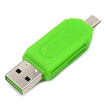 (Verde) Todo en 1 lector de tarjetas de memoria USB Micro USB OTG a USB2.0 Adaptador SD / Micro SD / TF