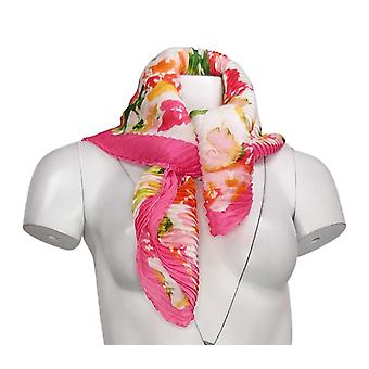 Isaac Mizrahi Live!Floral Printed Pleated Diamond Scarf Pink Scarf A378796