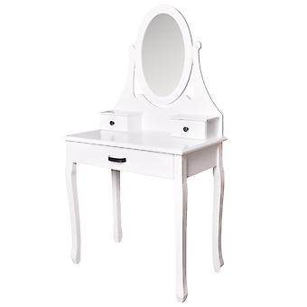 Wooden dressing table white - with mirror and matching stool - 3 drawers