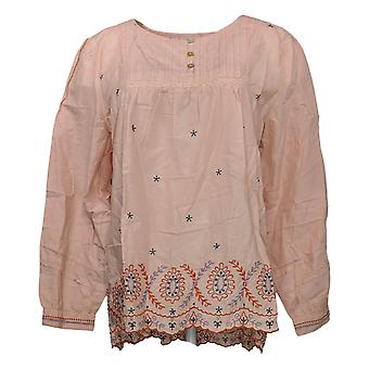 LOGO by Lori Goldstein Women's Top Cotton Woven Embroidered Pink A376996