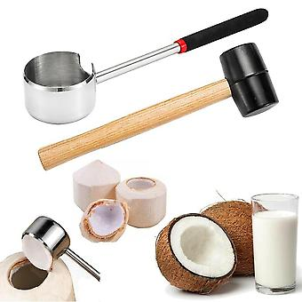 2pcs Coconut Opener Set Portable Opening Tool Kit Durable Rubber Hammer For Home Shop