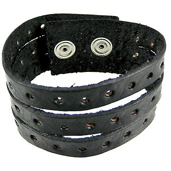 Black Leather Split Strap Wristband Bracelet