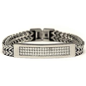 Small Stainless Steel 2 Row CZ Franco Link ID Bracelet 8 Inches