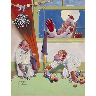 A Swell Hand-Out. Framed Photo. Comic illustration showing two naughty little monkeys in pyjamas.