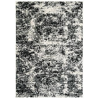 5' x 7' Black and White Abstract Area Rug