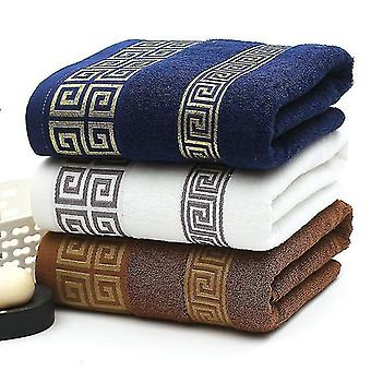 Bath towels washcloths 3 piece set of luxury soft embroidered cotton bath and shower towels 34x74cm blue 3pcs