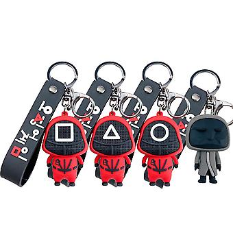 4 Pack 3d Squid Game Keychain Pendant Pvc Keyring With Bracelet Game Fans Gifts For Adults Kids Women Men