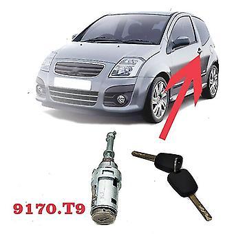 Voor citroen c2 c3 9170.t9 auto linker deurslot cilindersloten accessoires met 2 sleutels vervangen slot