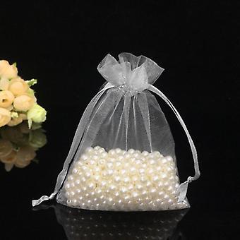 100kpl valkoinen 7x9cm kiristysnyöri Organza pussi lahja diy paketti korut juhla laukut