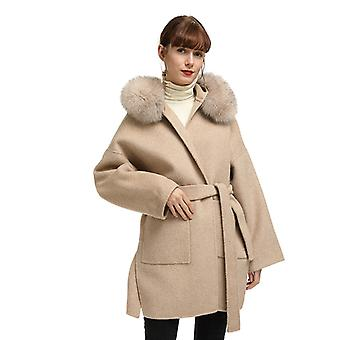 Mimigo Autumn And Winter Hooded Coat Female Wool Belt Double-sided Woolen Coat With Real Fox Fur Collar Christmas Gift For Girls