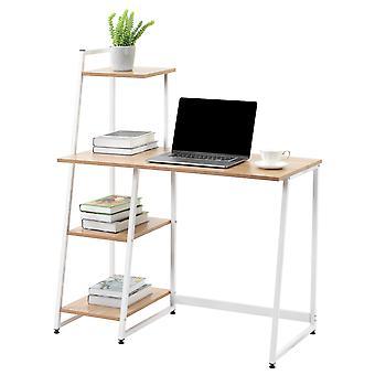 Bureau d'ordinateur avec étagères de stockage à 4 niveaux