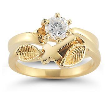Christian Cross Diamond Bridal Wedding Ring Set in 14K Yellow Gold