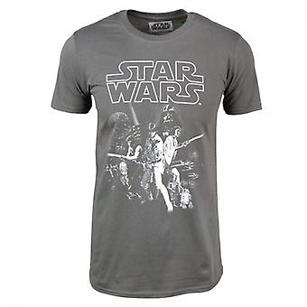 Star Wars Mens Star Wars A New Hope Poster T Shirt Charcoal