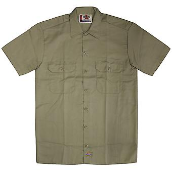 Dickies 1574 manga curta trabalho camisa cáqui