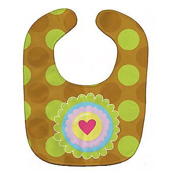 كنوز كارولين BB9052BIB قلب زهرة مريلة الطفل الأخضر