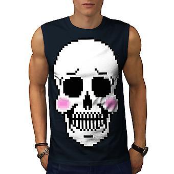 Blush Cute Skeleton Skull Men NavySleeveless T-shirt | Wellcoda