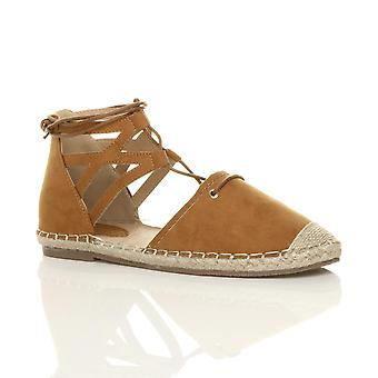 Ajvani Womens flache Schnürschuh Ghillie ausgeschnitten Espadrilles Sommer Schuhe Sandalen