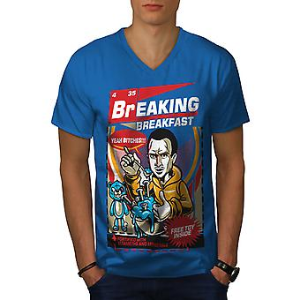 Breaking Breakfast Funy Men Royal BlueV-Neck T-shirt | Wellcoda