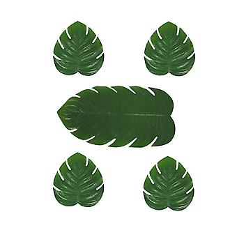 Green Artificial Tropical Monstera Leaf 5 Piece Table Runner and Placemat Set