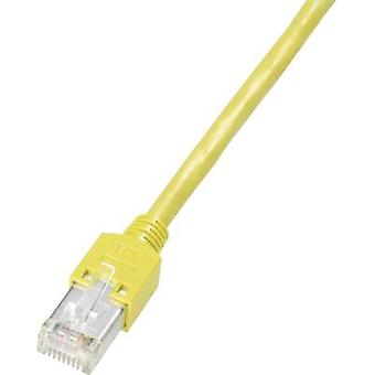 Dätwyler RJ45 K8702.10 Network cable, patch cable CAT 5e S/UTP 10.00 m Yellow Flame-retardant, incl. detent