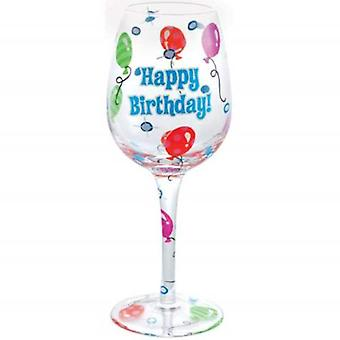 Party Balloon Happy Birthday Wino Vino Wine Glass 15 Ounces