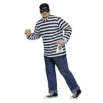 Burglar Bank Robber Thief Convict Prisoner Jail Funny Men Costume Plus