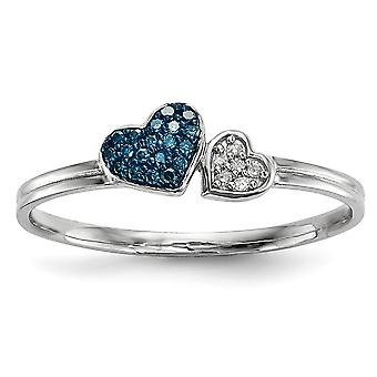 925 Sterling Silver Open back Gift Boxed Rhodium plated Blue and White Diamond Love Hearts Ring Jewelry Gifts for Women