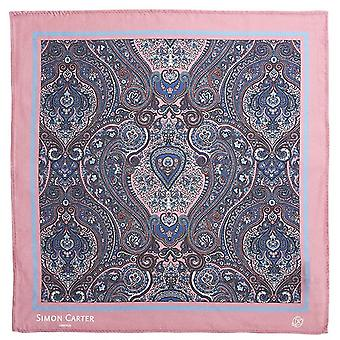 Simon Carter Framed Paisely Silk Pocket Square - Pink