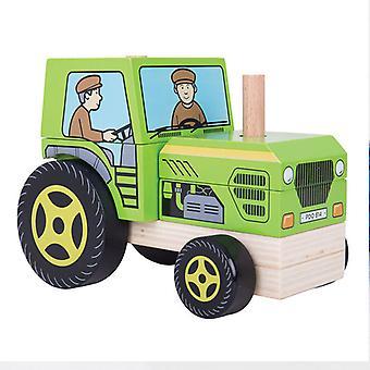 Jeu de tracteur en bois superposés