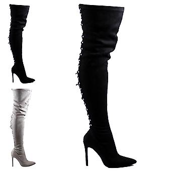 Womens Long Fashion Lace Back Stilettos Dress Long Thigh High High Heels UK 3-10