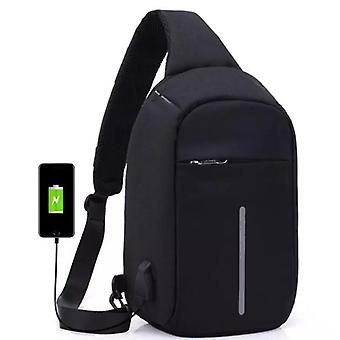 Anti-Theft shoulder bag with USB charging-black
