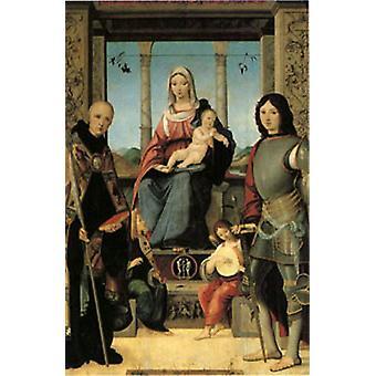 Neitsyt ja lapsi Saints Benedictin ja Quentin kanssa, Francesco Marmitt