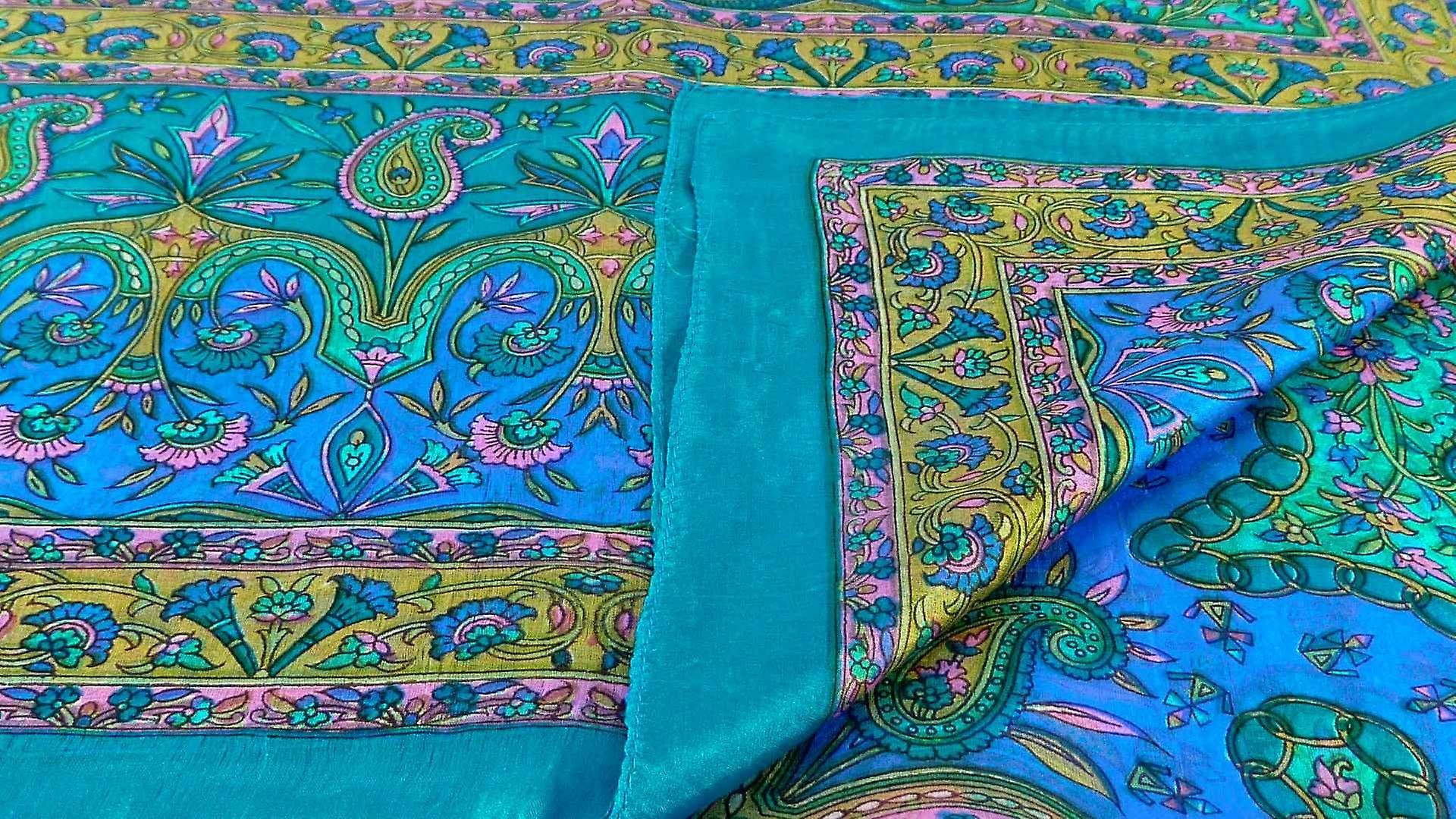 Mulberry Silk Traditional Long Scarf Sarayu Aqua by Pashmina & Silk