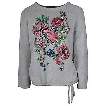 Betty Barclay Grey Long Sleeve Fine Knit Floral Jumper