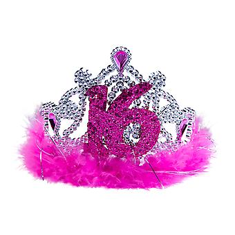 Crown tiara Crown Sweet 16 rosa Teenieparty bursdag fjær Crown