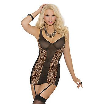 Women's Sexy Corset Synthetic Leopard Print Mesh Side Panels & Low Neckline