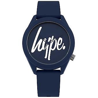 Hype | Mens Blauw siliconen band | Blauwe en witte wijzerplaat | HYG001U Watch