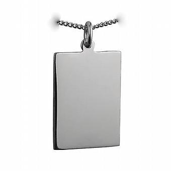 Silber 25x18mm schlicht rechteckige Scheibe mit einem Bordstein Kette 24 Zoll