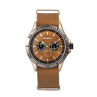 Föder upp Dixon läder-Band Watch w/dag/datum-guld/ljus brun