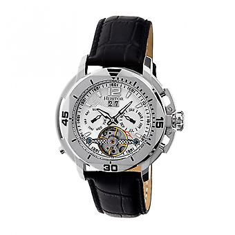 Heritor Automatic Lennon Semi-Skeleton Leather-Band Watch - Silver