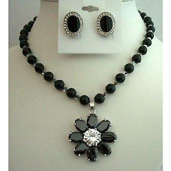 Mystic Swarovski Black Pearls Necklace Flower Pendant & Onyx Earrings