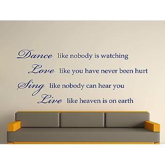 Danse comme personne observe Art Wall Sticker - Bleu foncé