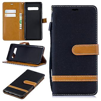 Samsung Galaxy S10 plus mobiele telefoon geval beschermende zak gevaldekking kaart cover case zwart