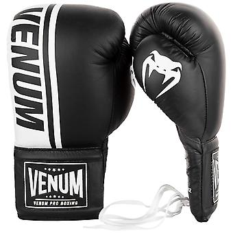 Venum Shield Pro Lace Up Leather Boxing Gloves - Black/White