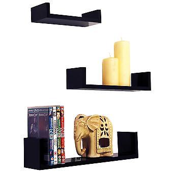 Melody-montat pe perete Gloss plutitoare display rafturi de depozitare-set de 3-negru