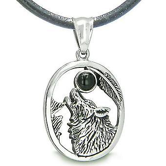 Amulett Mut Heulender Wolf schwarzer Onyx MoGemstone Lucky Charm Anhänger Halskette