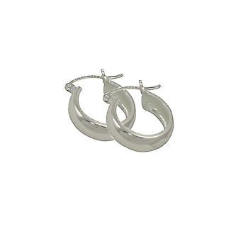 Eeuwige collectie glans zilver klassieke hoepel doorstoken oorbellen