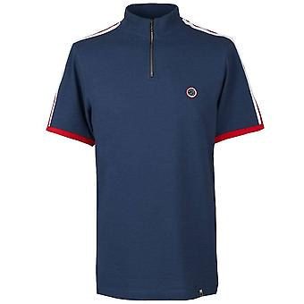 PRETTY GREEN Navy Contrast Stripe Zip Neck T-shirt